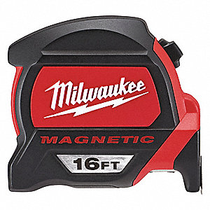 16 ft. Steel SAE Magnetic Tip Tape Measure, Black/Red