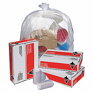10 gal. Light Trash Bags, Clear, Coreless Roll of 1000