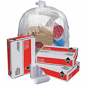 16 gal. Clear Trash Bags, Light Strength Rating, Coreless Roll, 1000 PK