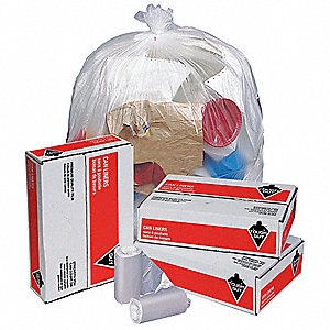 33 gal. HDPE Heavy Trash Bags, Coreless Roll, Clear, 250PK