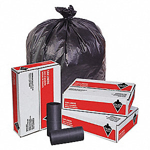 60 gal. HDPE Extra Heavy Trash Bags, Coreless Roll, Black, 150PK