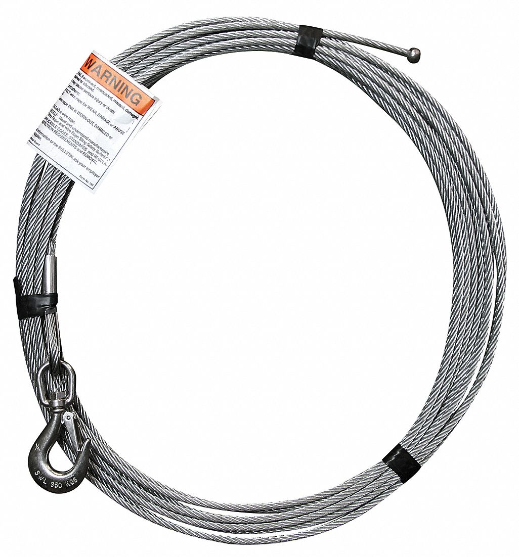 OZ LIFTING PRODUCTS 55 ft. Galvanized Steel Winch Cable with 1200 lb ...