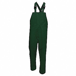 Rain Bib Overall, High Visibility: No, ANSI Class: Unrated, Polyester, M, Green