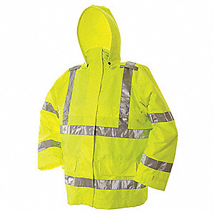 Rain Jacket w/Hood,Men's,Hi-Vis Lime,2XL