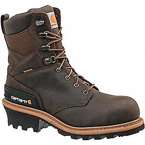 "8""H Men's Logger Boots, Composite Toe Type, Leather Upper Material, Brown, Size 14M"