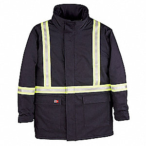 Navy UltraSoft(R) Flame-Resistant Parka,  3XLT,  8.5 oz,  Number of Inside Pockets 1
