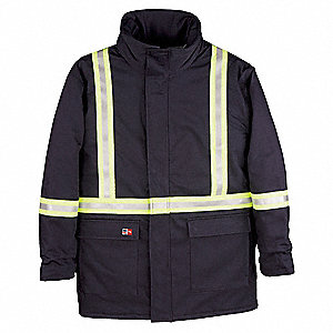 Navy UltraSoft(R) Flame-Resistant Parka,  4XL,  7 oz,  Number of Inside Pockets 1