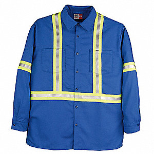 "Royal Blue Flame-Resistant Collared Shirt, Size: L, Fits Chest Size: 42"" to 44"", 8.7 cal./cm2 ATPV R"
