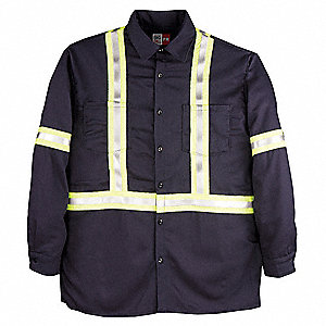 "Navy Flame-Resistant Collared Shirt, Size: XL, Fits Chest Size: 46"" to 48"", 8.7 cal./cm2 ATPV Rating"