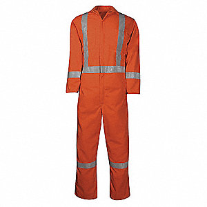 Ultra Soft®, Flame-Resistant Coverall, Size: M, Color Family: Oranges, Closure Type: Zipper