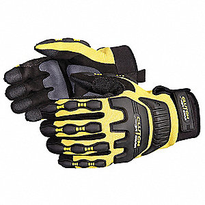 Mechanics Gloves, PVC Palm Material, Black/Yellow, 1 PR