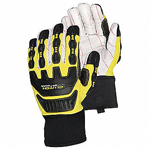 Mechanics Gloves, 18 oz. Corded Cotton Palm Material, Black/Yellow, 1 PR