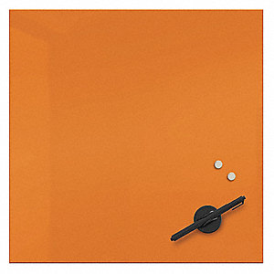 "Gloss-Finish Glass Dry Erase Board, Wall Mounted, 15-3/4""H x 15-3/4""W, Orange"