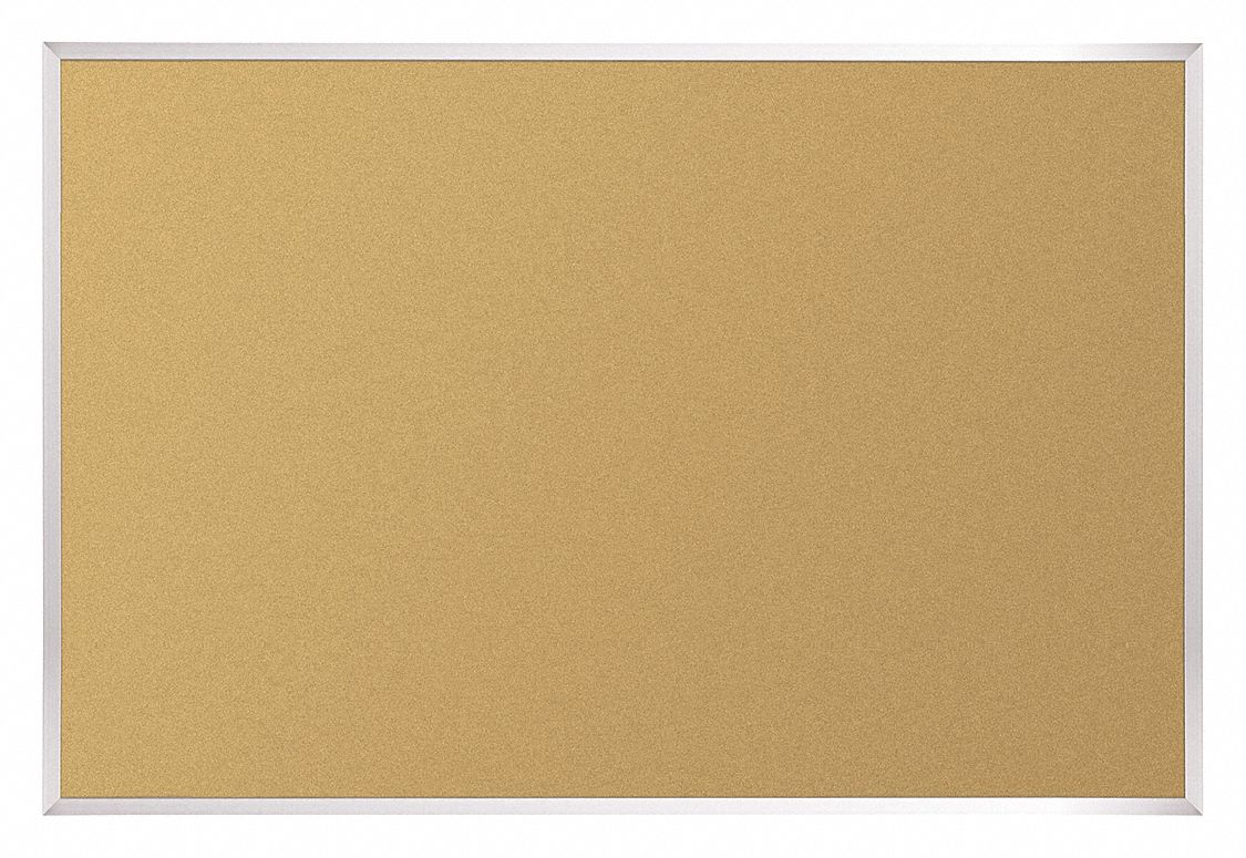 Push-Pin Bulletin Board, Cork, 36 inH x 48 inW, Natural