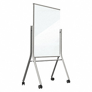 "Gloss-Finish Glass Dry Erase Board, Mobile/Casters, 69-19/64""H x 35-1/2""W, White"