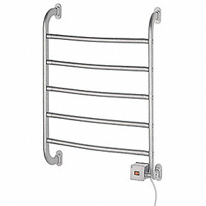 "6""D x 19""W x 26""H Satin Nickel 5 Bar Towel Warmer"