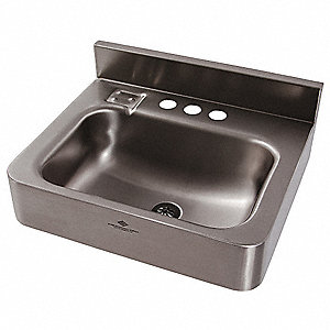 stainless steel wall bathroom sink without faucet 14 12 x 9 - Stainless Steel Bathroom Sinks
