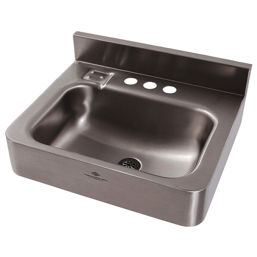 DURA-WARE Stainless Steel Wall Bathroom Sink Without Faucet, 14-1/2 ...