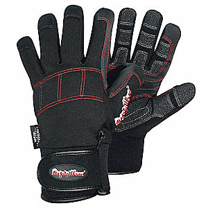 Cold Protection Gloves, Fleece Lining, Knit Wrist Cuff, Red/Black, XL, PR 1