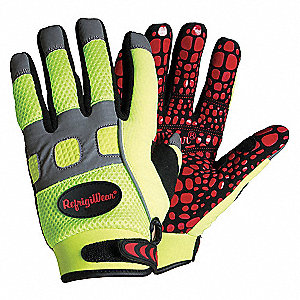 Cold Protection Gloves, Fleece Lining, Knit Wrist Cuff, Hi-Visibility Lime, L, PR 1