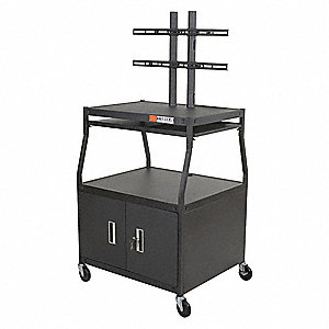 "Audio-Visual Cart w/Electric, Shelf Color: Black, 28""L x 32""W x 67""H"