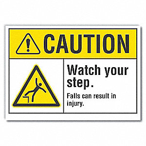 Caution Sign,Self-Adhesive Vinyl,5 in. H