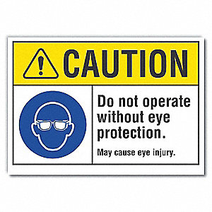 "Personal Protection, Caution, Polyester, 10"" x 14"", Adhesive Surface, Not Retroreflective"