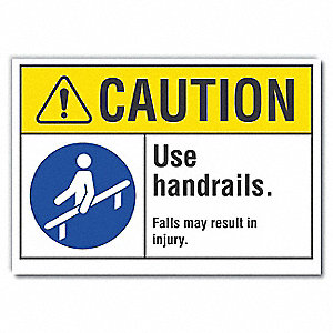 "Accident Prevention, Vinyl, 5"" x 7"", Adhesive Surface"