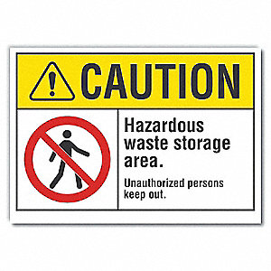 "Chemical, Gas or Hazardous Materials, Vinyl, 7"" x 10"", Adhesive Surface"