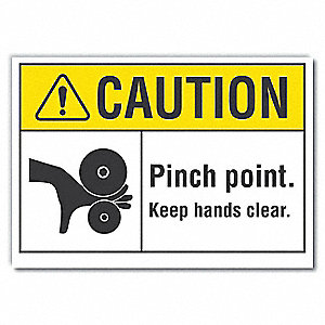 "Keep Hands Clear, Vinyl, 10"" x 14"", Adhesive Surface"