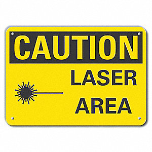"Laser Hazard, Recycled Aluminum, 7"" x 10"", With Mounting Holes"