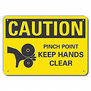"Keep Hands Clear, Recycled Aluminum, 7"" x 10"", With Mounting Holes"