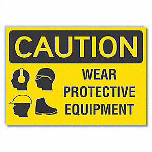 Caution Sign,Self-Adhesive Vinyl,10 in H