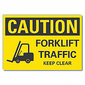 "Lift Truck Traffic, Vinyl, 10"" x 14"", Adhesive Surface"