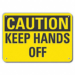 "Keep Hands Clear, Recycled Aluminum, 10"" x 14"", With Mounting Holes"
