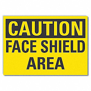 "Personal Protection, Caution, Vinyl, 3-1/2"" x 5"", Adhesive Surface"