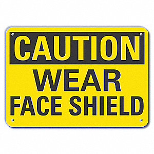 "Personal Protection, Caution, Recycled Aluminum, 10"" x 14"", With Mounting Holes"