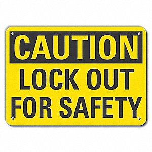 "Lockout Tagout, Caution, Recycled Aluminum, 7"" x 10"", With Mounting Holes"