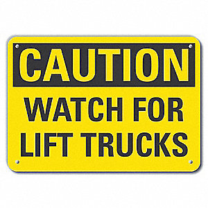 "Lift Truck Traffic, Caution, Recycled Aluminum, 7"" x 10"", With Mounting Holes"