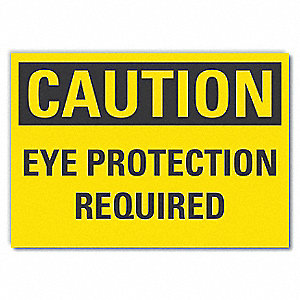 "Personal Protection, Caution, Vinyl, 10"" x 14"", Adhesive Surface"