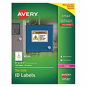 "Label,3-1/2""Wx5""H,200 No.of Labels,PK50"