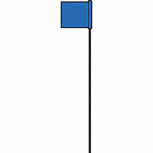 "Blue Marking Flag, 21"" Flag Height, Solid Pattern, Blank"
