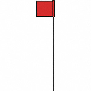 "Red Marking Flag, 21"" Flag Height, Solid Pattern, Blank"