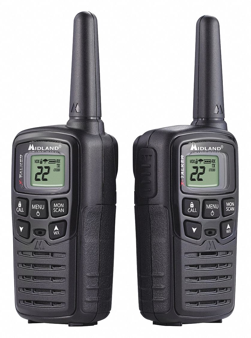 Handheld Portable Two Way Radio,  MIDLAND RADIO X-Talker,  22,  FRS/GMRS,  Digital,  LCD