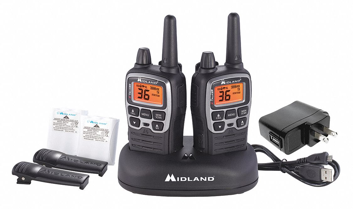 Handheld Portable Two Way Radio,  MIDLAND RADIO X-Talker,  36,  FRS/GMRS,  Digital,  LCD