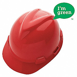 HARD HAT V-GARD GREEN CAP RED