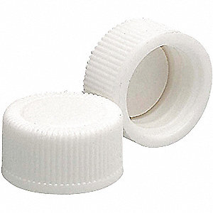 Polypropylene Screw On Cap, White Clear, 1000 PK