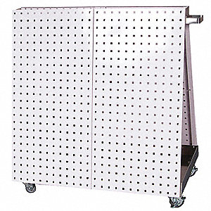 Mobile Pegboard Cart,White,Steel,3/8""