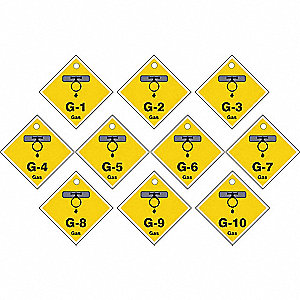 "Energy Source ID Tag, Plastic, G-(1 to 10) Gas, 2-1/2"" x 2-1/2"", 10 PK"