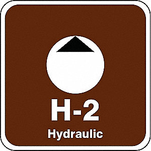 "Energy Source ID Tag, Vinyl, H-2 Hydraulic, 2-1/2"" x 2-1/2"", 1 EA"